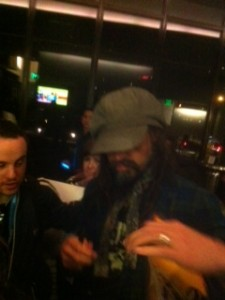 Director Rob Zombie signs autographs for fans